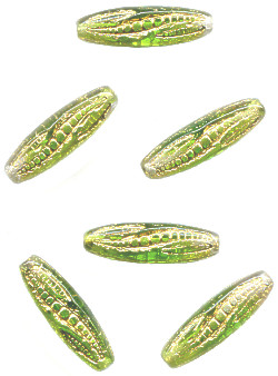 19mm Green Givre & Gold Wash Pressed Glass *Corn Husk* OVAL Beads