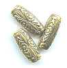 12x25mm Antiqued Metallic Gold Acrylic Moroccan Style TUBE Beads