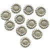 4x5mm Anitiqued Metallic Silver Acrylic Floral Daisy DISC Beads