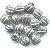 10mm Antiqued Metallic Silver Acrylic Fluted Melon ROUND Beads