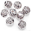 9mm Antiqued Metallic Silver Acrylic Rosebud ROUND Beads