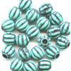 10mm Antiqued Turquoise Acrylic Fluted Melon ROUND Beads