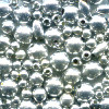 3mm - 6mm Metalic Silver Acrylic RICE & ROUND Bead Mix