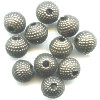 6mm Antiqued Metallic Silver Acrylic Textured ROUND Beads