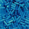 CZECH #2 (2x4-5mm) BUGLE BEADS: Transparent Montana Blue Satin