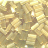 CZECH #2 (2x4mm) *Hex Cut* BUGLE BEADS: Transparent Light Topaz Satin (Matte)