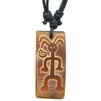 15x35mm Embossed Horn PETROGLYPH MAN Pendant/Focal Bead - with Cord