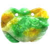 38x52mm White, Green & Yellow Jadeite Carved CRAB Pendant/Focal Bead