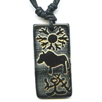 17x37mm Embossed Bone PETROGLYPH BUFFALO Pendant/Focal Bead - with Cord