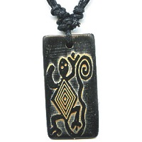 17x36mm Embossed Bone PETROGLYPH LIZARD Pendant/Focal Bead - with Cord