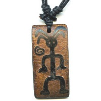 17x36mm Embossed Bone PETROGLYPH MAN Pendant/Focal Bead - with Cord