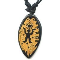 18x37mm Embossed Bone PETROGLYPH MAN Pendant/Focal Bead - with Cord