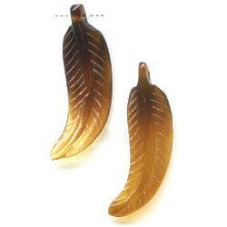 12x36 Translucent Brown Shell FEATHER Pendant/Focal Beads