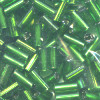 "1/16"" x 3/16"" (4mm) BUGLE BEADS: Trans. Green S/L"