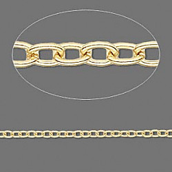 "24"" Unfinished Gold Plated 3mm Oval Cable CHAIN"