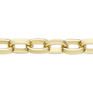 "30"" Goldtone 3x4mm Oval Flat ROLO CHAIN, Continuous Link (No Clasp)"