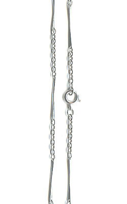 "24"" Finished Stainless Steel 3mm Oval & Twisted Bar CABLE CHAIN Necklace with Spring Clasp"