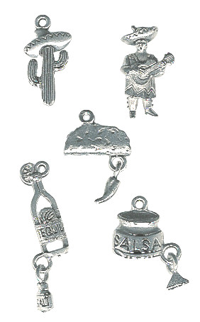 *FIESTA* Silvertone Cast Pewter Charm Assortment