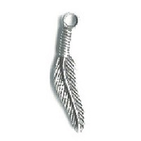 "5x25mm (1"") Antiqued Silvertone Cast Pewter Curved Feather Charm"