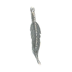 "7x35mm (1-3/8"") Antiqued Silvertone Pewter Feather Charm"