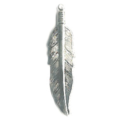 "11x45mm (1-3/4"") Silvertone Stamped Metal Feather Charm / Pendant"