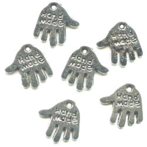 11x13mm *HAND MADE* Silvertone Cast Pewter Jewelry Tag / Hand Charms