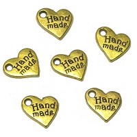 "9mm ""HAND MADE"" Jewelry Tag Charm, Heart - Gold Tone"