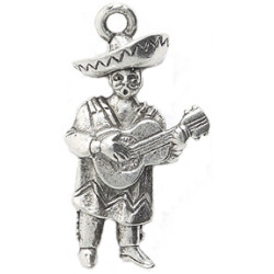 "1"" Silvertone Cast Pewter Mariachi Guitar Player Charm"