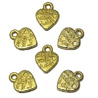 "10x13mm ""MADE WITH LOVE* Goldtone Cast Pewter Jewelry Tag  / Heart Charms"
