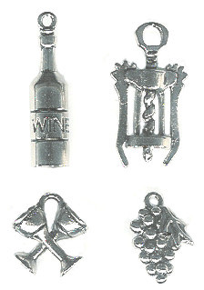 *VINO 2* Silvertone Cast Pewter Charm Assortment