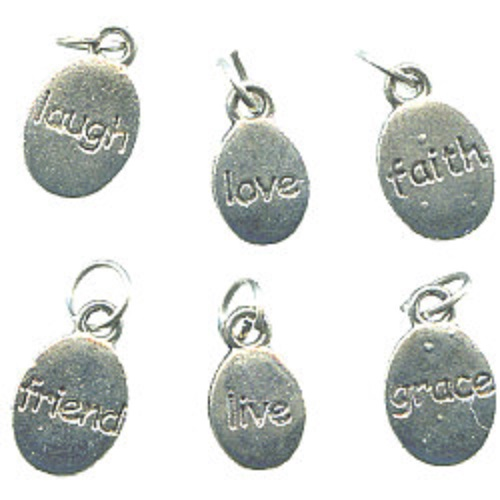 10mm - 12mm  Silvertone Cast Pewter WORD CHARMS Assortment