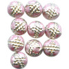 6mm Light Pink & Silver Cloisonne ROUND Beads
