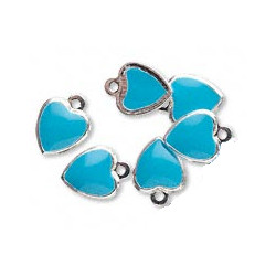 7x9mm Silver-Plated Brass, Double-Sided Epoxy, Turquoise Blue HEART CHARMS