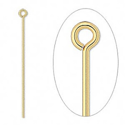 "1-1/4"" Gold Plated (21 gauge) EYE PINS"