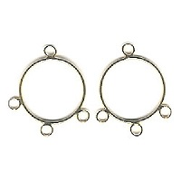 22mm Gold-Plated EARRING HOOP Components, Three Bottom Loops