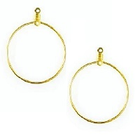 28mm Gold-Plated EARRING HOOP Components with Top & Center Hole