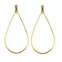 28x35mm Gold-Plated EARRING LOOP Components with Top & Center Hole