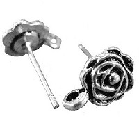 Tibetan Silver Floral ROSE with Bottom Loop EAR STUD Components
