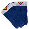 Lady's Beaded Suede Gloves ~ Blue