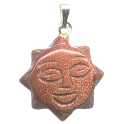 18mm Goldstone SUN FACE Charm/Pendant Bead - with Loop & Bail