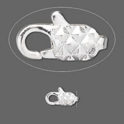 11mm Silver Plated Brass, Diamond Pattern, Lobster Claw CLASP