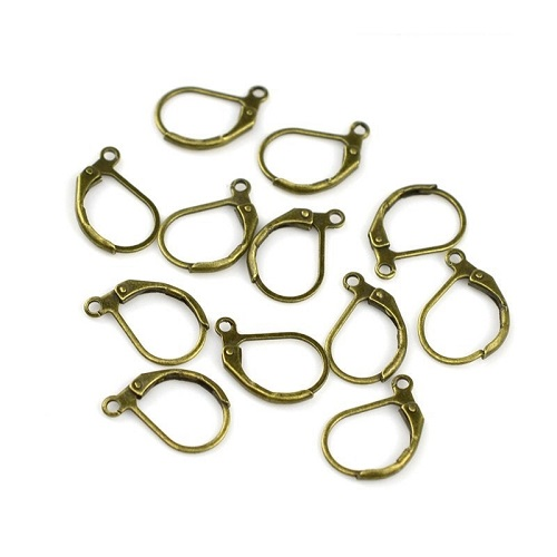 10x15mm Plated Brass with Bottom Loop LEVERBACK Earrings Components - Antique Bronze