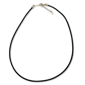 "18"" x 3mm Flocked CORD NECKLACE, Black, with Lobster Claw Clasp"