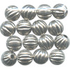 8mm Heavy Nickel-Plated Hollow Brass FLUTED ROUND Beads