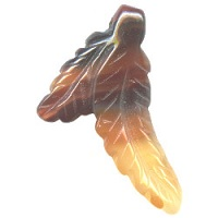 26x35mm Natural Agate DOUBLE FEATHER Pendant/Charm Bead