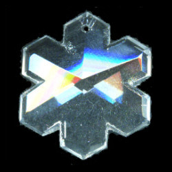 30mm Transparent Crystal Pressed Glass Faceted SNOWFLAKE Focal/Pendant Bead
