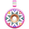 40mm Hand Painted Peruvian Ceramic DONUT Pendant Se
