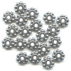 2x6mm Lead-Safe Antiqued Pewter Studded DISC / SPACER Beads
