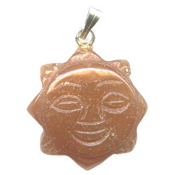 18mm Red Aventurine SUN FACE Pendant/Charm Bead - with Loop & Bail