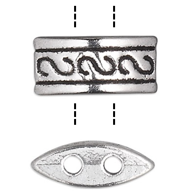 5x10mm Pewter 2-Hole Fancy SPACER BARS